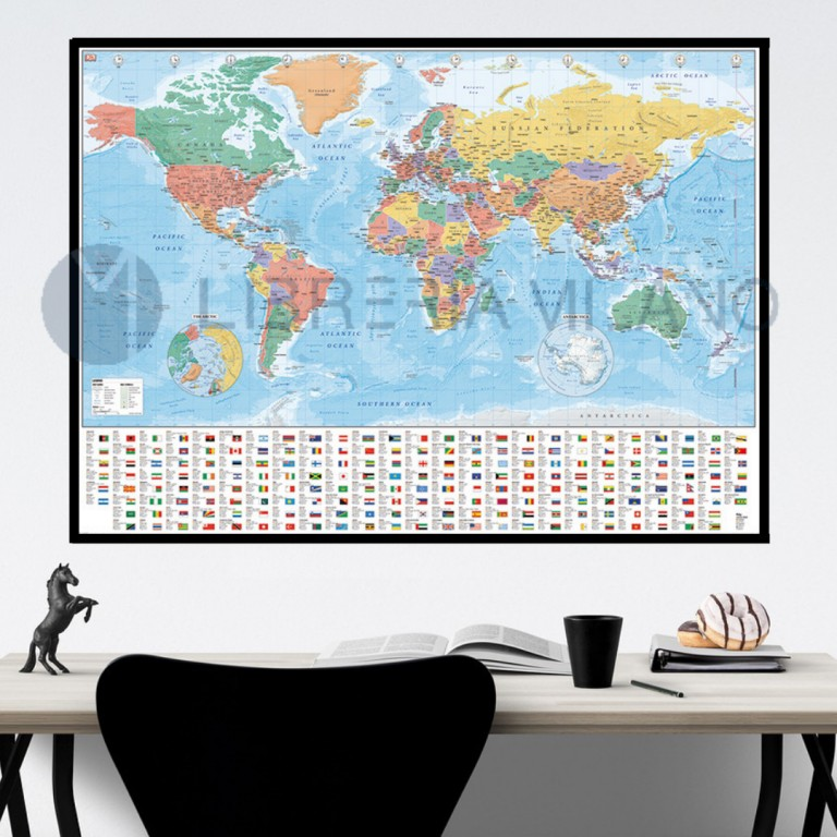 WORLD MAP map OF THE WORLD GPP51070 GIANT POSTER 140cm x 100 FLAGS AND FACTS